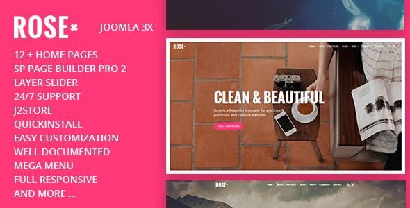 Rose pink joomla theme for multipurpose websites