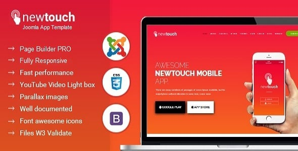 Newtouch Responsive App Landing Joomla Theme With Page Builder