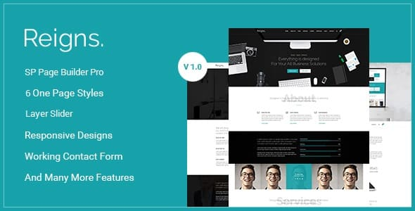Reigns - Professional One Page Corporate Joomla Theme With Builder