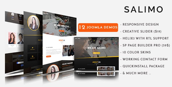 Salimo - Creative One Page Parallax Joomla Theme With Page Builder