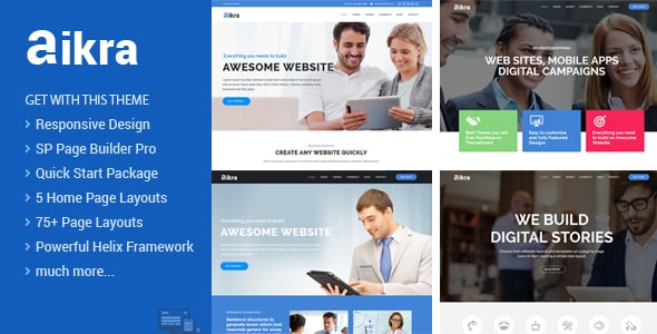 Aikra - Responsive MultiPurpose Joomla Template With Page Builder