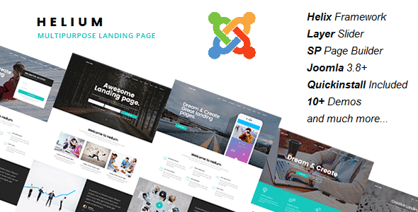 Helium – 10 in 1 Multipurpose Joomla Landing Pages Template