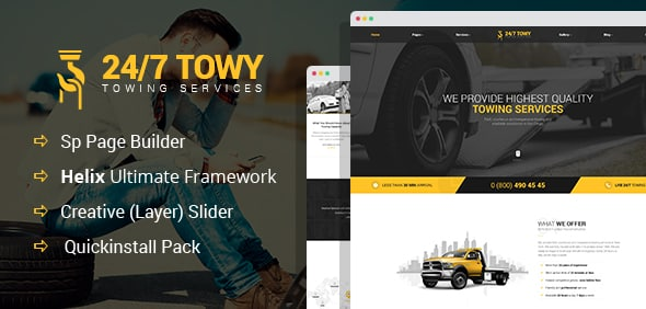 Demo preview for joomla theme towy - towing services, auto template