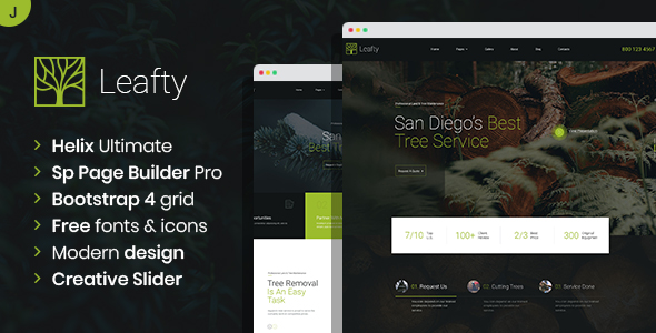 Leafty - Green Joomla Template for Tree Removal and Lumberjack Company